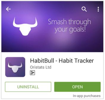 Tombol open HabitBull