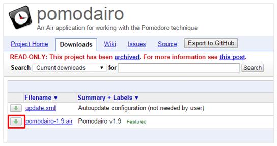 Tombol download Pomodairo